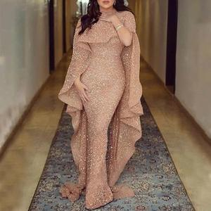 2020 hot Glitter shawl Sequin Rose Gold Evening Dress Long Sleeve Luxury Formal Prom Party Gown Mermaid Prom Dress