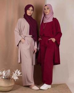2019 hot sell daily wear 3-piece set for muslim women with 4 colors