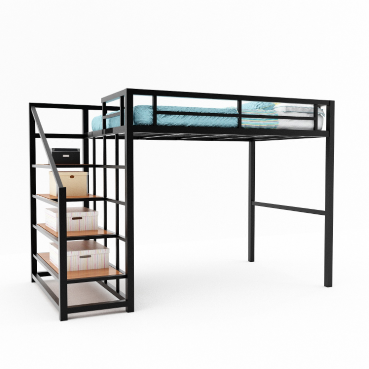 High quality metal bed frame adult single loft beds steel bunk bed with ladder in cheap prices