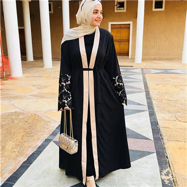 Zakiyyah 1502 Lace Sleeve Muslim Women Clothing Black Open Abaya Ladies Elegant Kimono from Turkey Cardigan Arabic Lone Robe