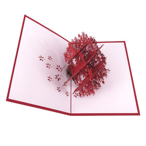 Luxury Custom Maple Tree Design Valentines Day Pop Up Card 3D For Love