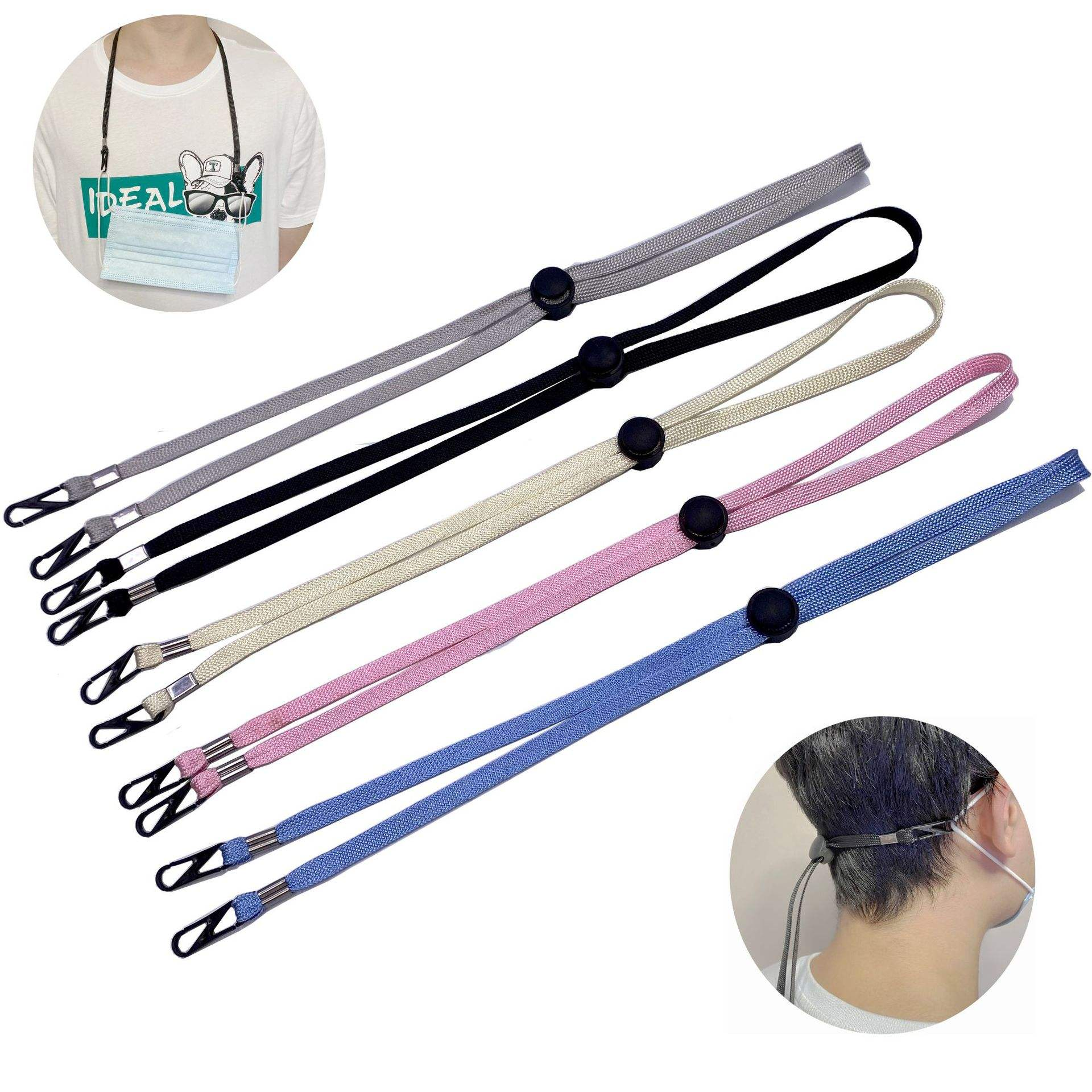 Durable Polypropylene Fiber 70cm, Length Adjustable Custom Logo Printing M ask Holder Lanyard/