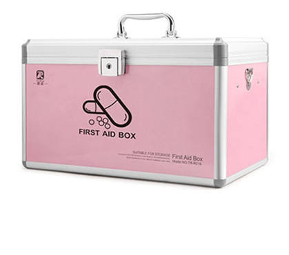 Silver Aluminum medical kit Pink first aid case
