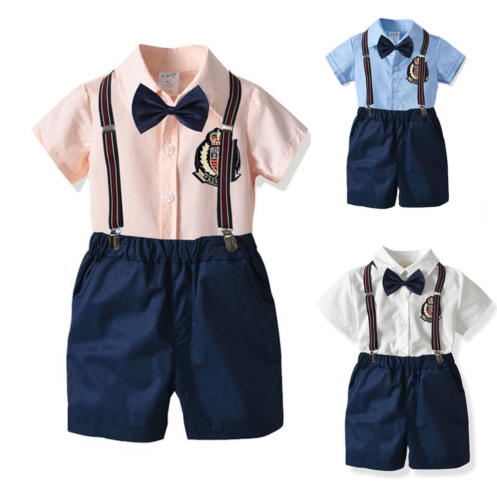 boys summer dress short sleeve shirt party suits for baby boys boutique kids clothes set