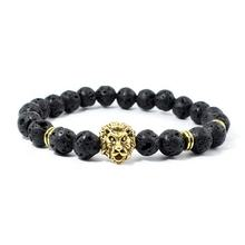 316L stainless steel 24K gold plated lion 's head Bracelet 24cm men bracelets hip hop jewelry