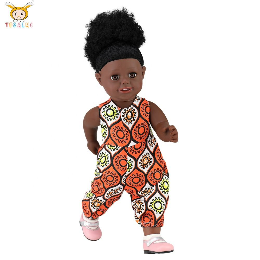 2021 new 16 inch black African doll plastic wholesale African doll cute and fashionable