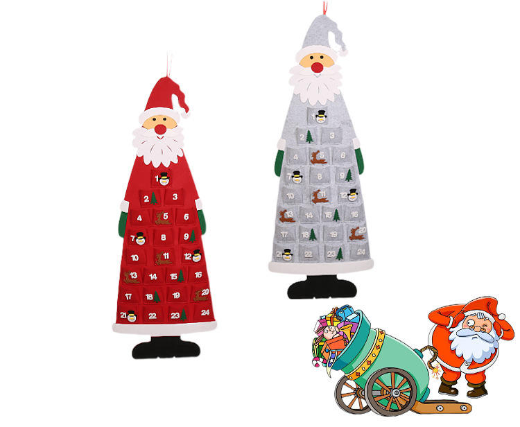 2020 Wall Hanging Santa Felt Advent Calendar with Pockets Christmas Countdown home christmas tree decorative
