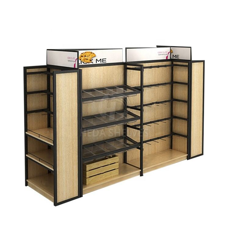 Product display stands supermarkt gondel Staal candy box display & Staal brood display rack voor verkoop