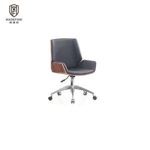 MADEFINE MDF-1617B Stylish Walnut Bent Plywood Wooden Low Back In Black PU Car Seat Lumber Support Office Chair Reception Chair