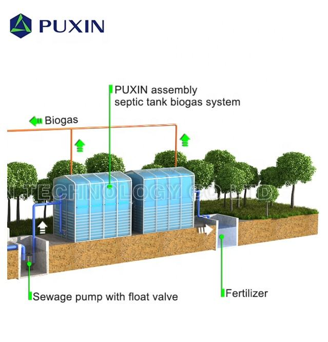 PUXIN Assembly Biogas Septic Tank System for Toilet