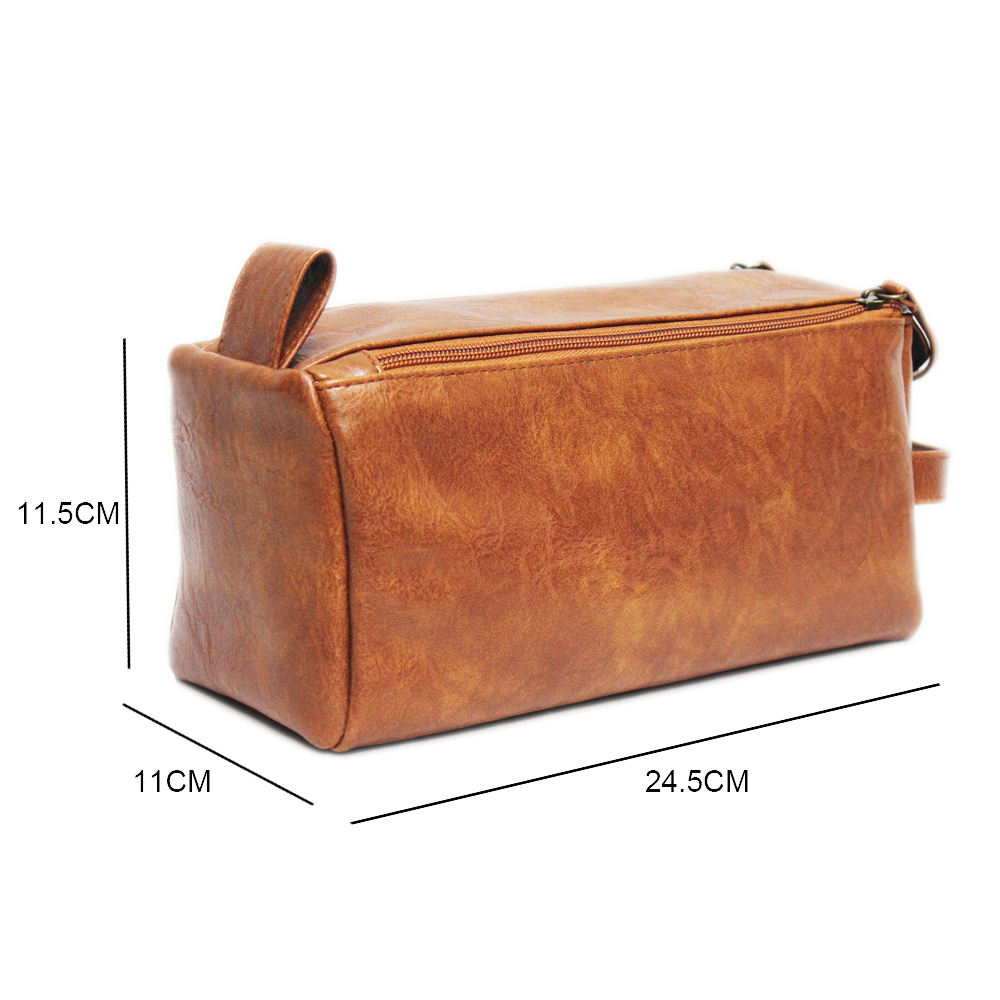 Wholesale Black Soft PU Dopp Kit Pouch Travel Men Leather Cosmetic Toiletry Bag Private Label