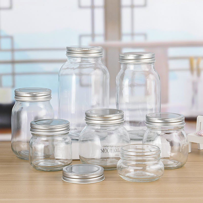 Large capacity wide mouth tall 100g 3oz 4oz 6oz recycled storage canning gold metal lid 150ml 750ml jam bottle glass mason jar