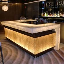 Customized Size Acrylic Solid Surface Restaurant Nightclub Wine Bar Illuminated Led Bar Counter Design