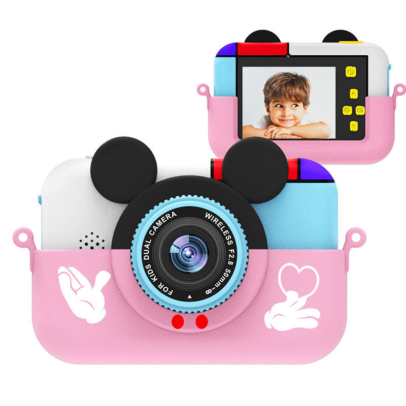 Kids Camera 2.4 Inch 1080P HD Fun Dual Digital Camera Game Toy Boy And Girl Gift Mickey Mouse Camera