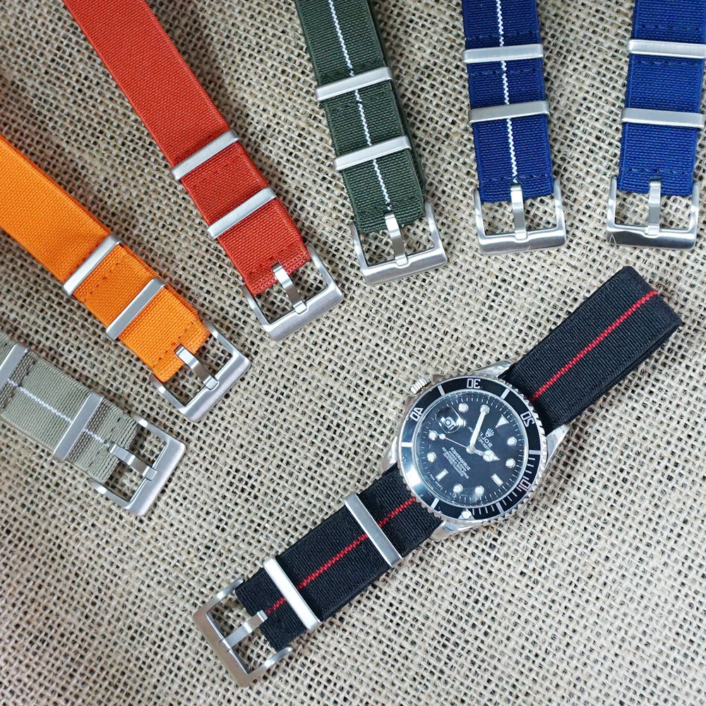 JUELONG Marine Nationale Elastic NATO Watch Strap 20mm 22mm Woven + Bands Watch