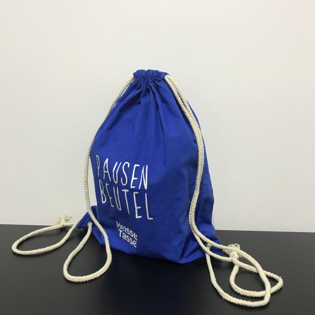 High quality stock colors promotional cotton drawstring bag custom logo