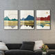2019 hot sale Chinese landscape painting abstract oil painting on canvas set of 3 wall painting for home hotel decor