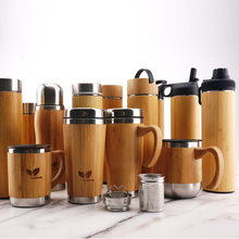 Water Tea Infuser Drink Thermos Stainless Steel Fiber Bamboo Bottle