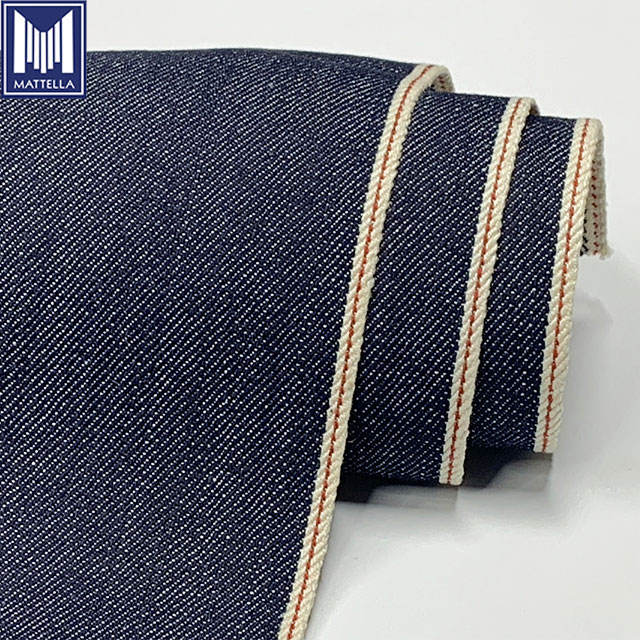 stocklot low price 9.5oz jean fabric roll 100% xinjiang long staple organic cotton indigo japan selvedge wholesale denim fabric