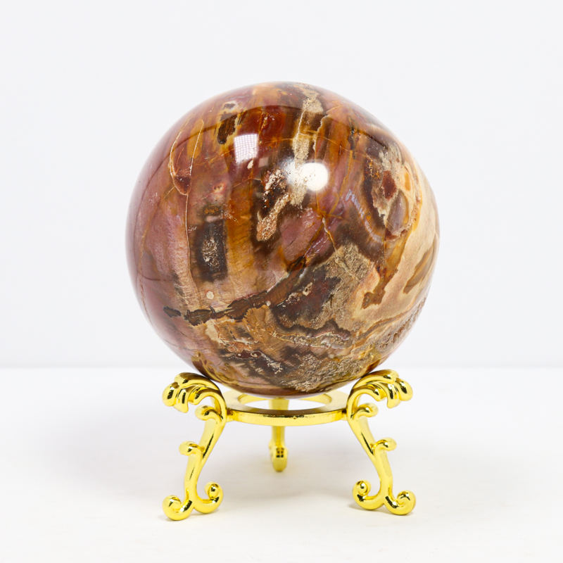 Wholesale Fashion Custom Natural Healing Stones Ball Petrified Wood Sphere Reiki Stone Crafts For Meditation