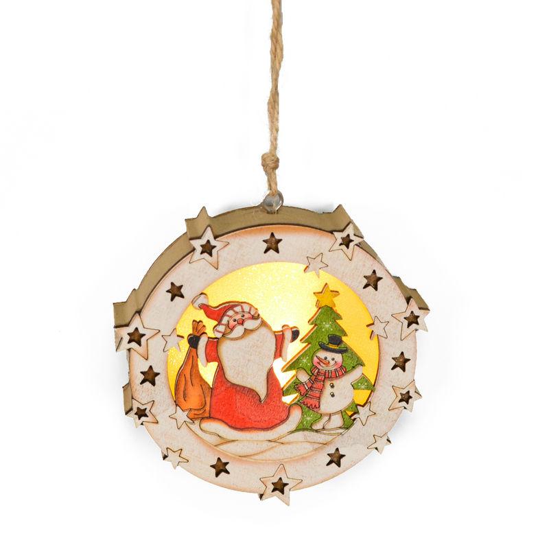 쉬운 제품 판매 나무 크리스마스 장식 장식품 라운드 산타 엑스 마스 LED 라이트 펜던트