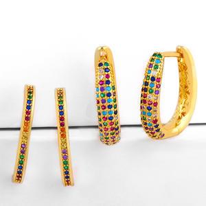 Fashion gold statement u shape zircon earrings rainbow pave CZ hoop huggie earrings for women