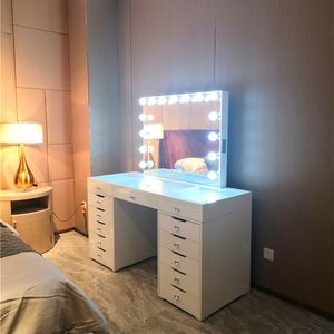 Stock on US  Docarelife Home Hollywood Furniture Dressing Vanity Table with Lighted Mirror Makeup Mirror