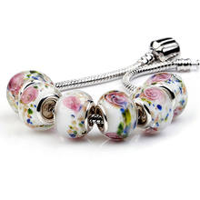 Flower Glass Beads Round DIY Big Hole European Loose Bead for Charms Bracelet jewelry making