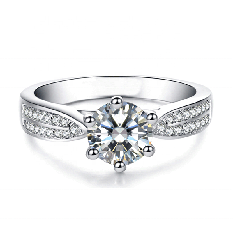 Ready to Ship White Gold Vvs Moissanite With Certificate D color 1 carat 14 kt Moissanite Rings