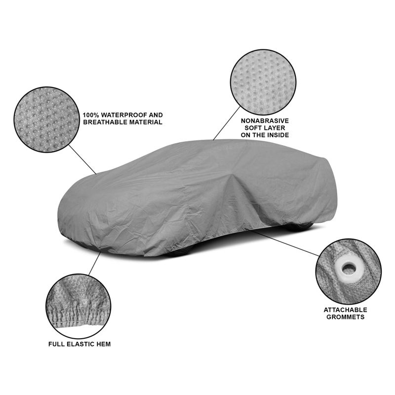New portable full body 4 layers thick polyester cloth rain season outdoor parking flood water proof insulate magnetic car cover