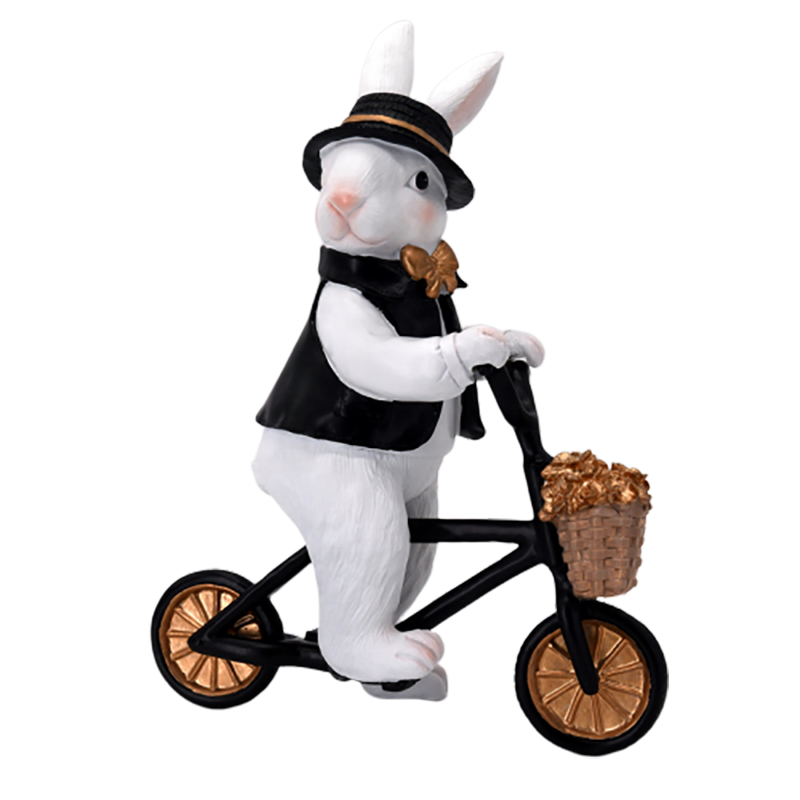 Resin table decorations party bicycle easter bunnies plush for sale
