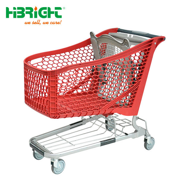 Eco-friendly best quality supermarket chain store plastic shopping trolley