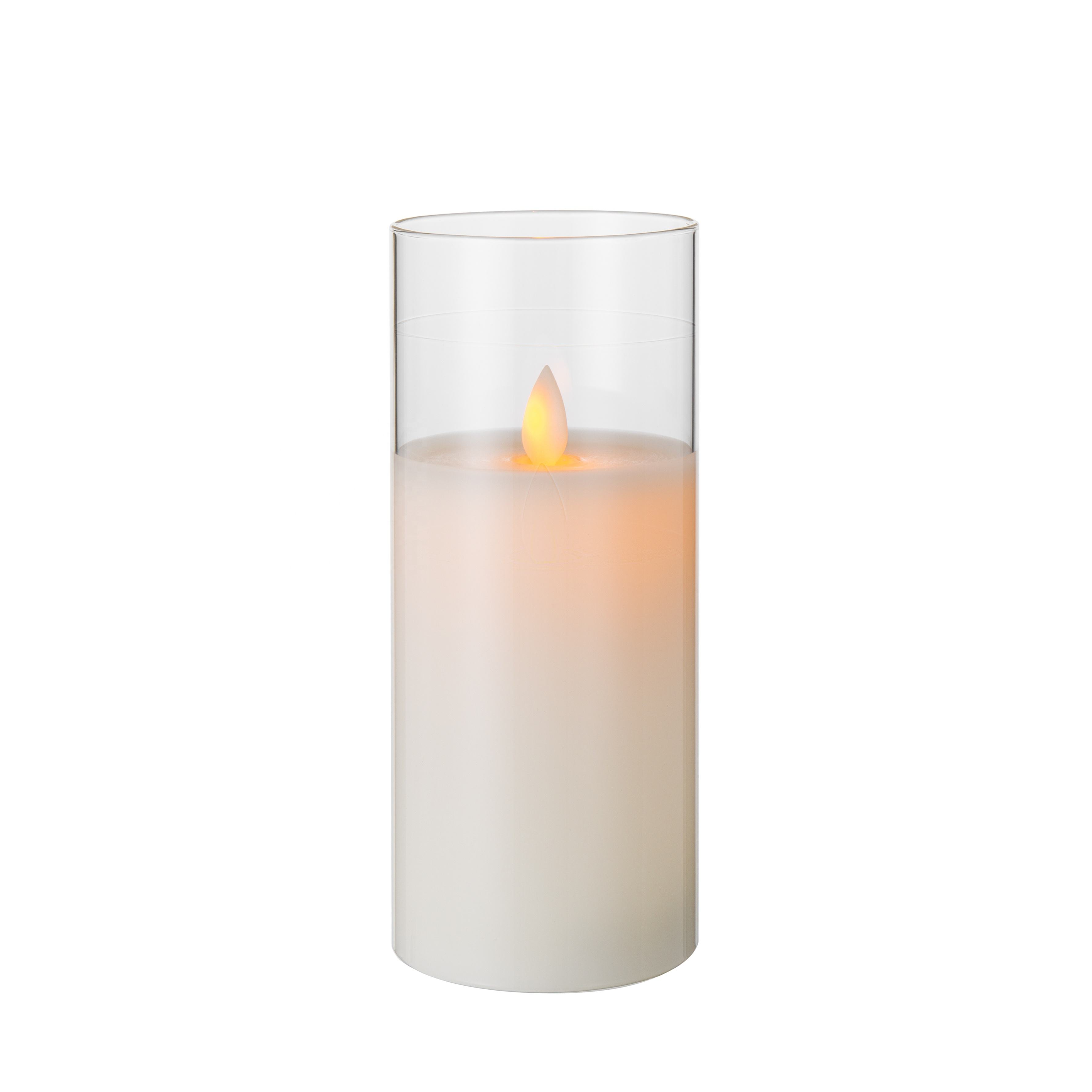 moving flameless smooth D7.5 H17.5 pillar white glass battery operated remote home decoration timer led candle wax