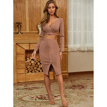 2020 New nude sweater top good quality V neck women sexy bodycon bandage dress for celebrations