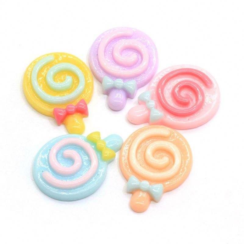 New Mix Design Lollipop Candy Resin Flatback Cabochon 100pcs DIY Handmade Material Home Decor Accessories Colorful Mix Cute Fash