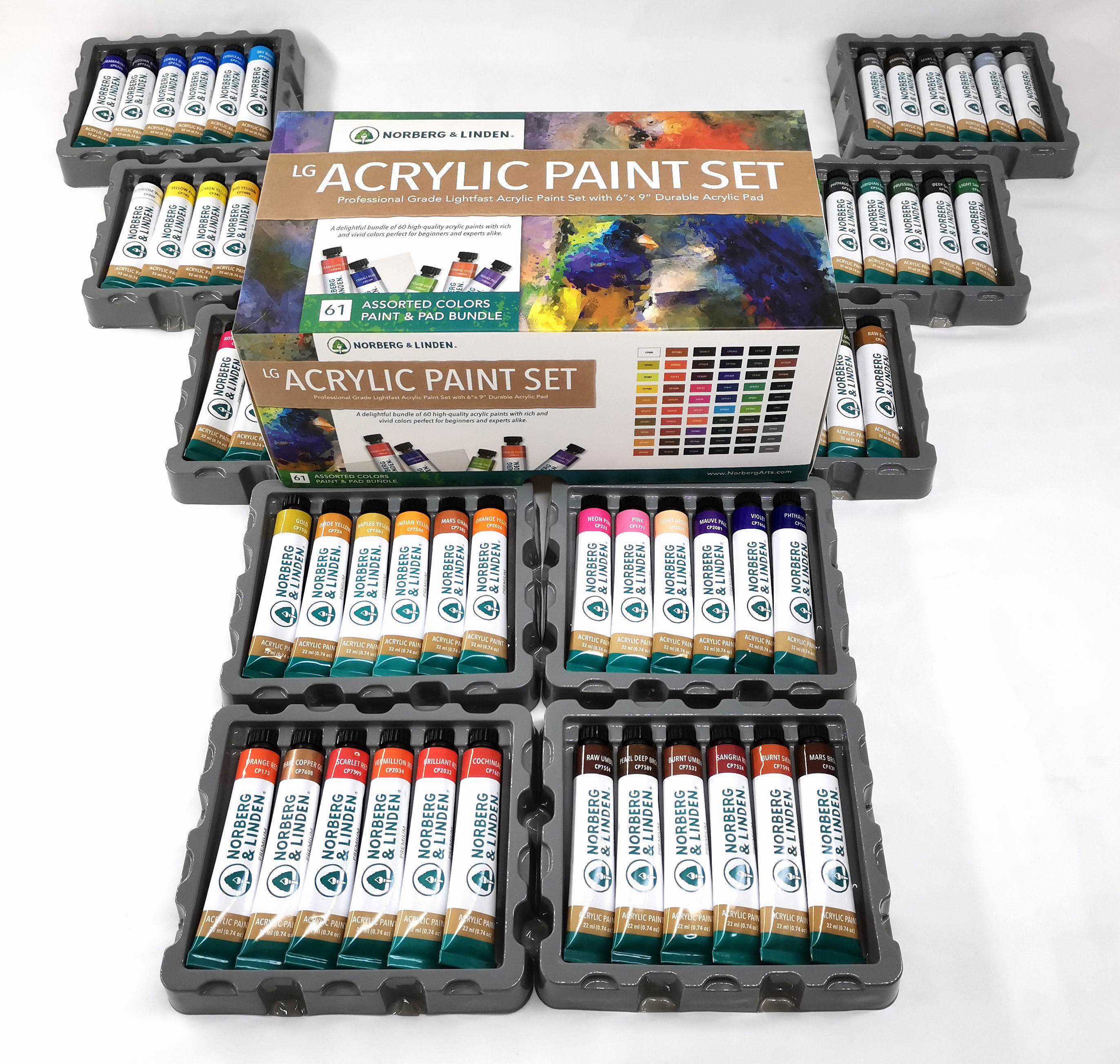 Non-Toxic Artist Paint Set 60 Colors Acrylic Set In Car Box Add A Acrylic Pad