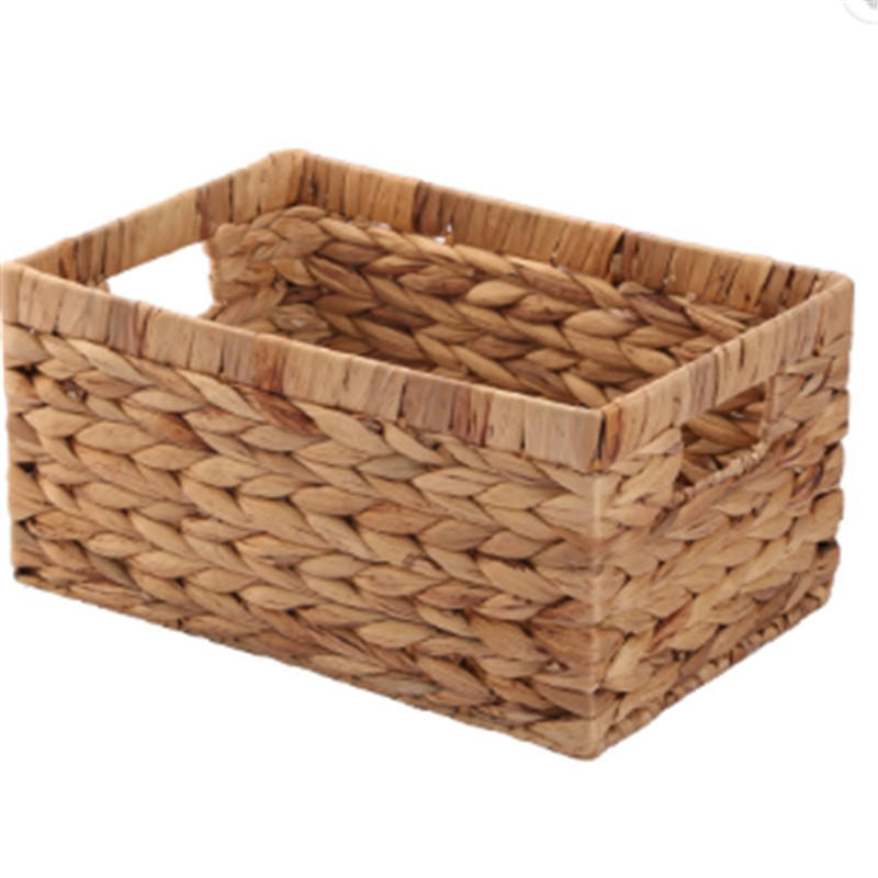 set of 3 water hyacinth straw hand woven storage basket with metal wire lining Change clothes basket, sundry receive basket