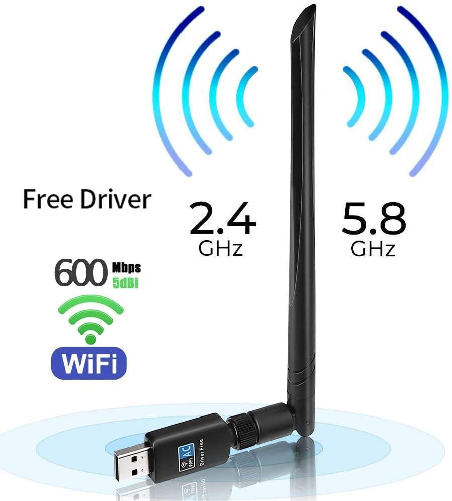 Dual Band 2.4GHz/5.8GHz LAN Card Network Card, USB WiFi Adapter 600mbps Free Driver USB 3.0 WiFi Dongle Wireless Network Adapter