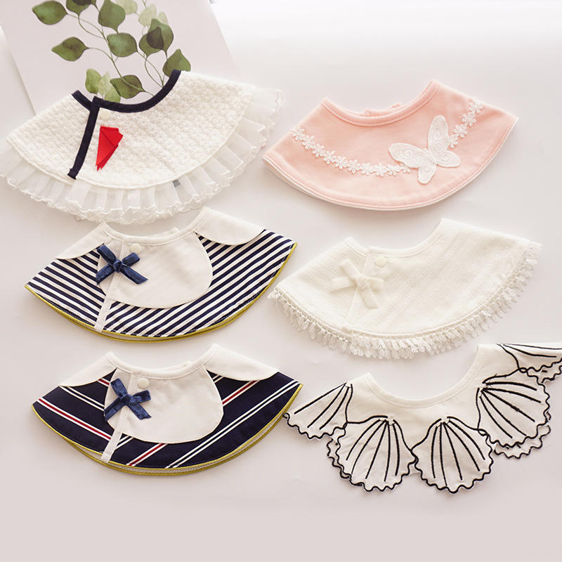 INS Newborn Baby Cute Bibs Party Collar Infant Baby Cotton Feeding Bib Lace Accessories