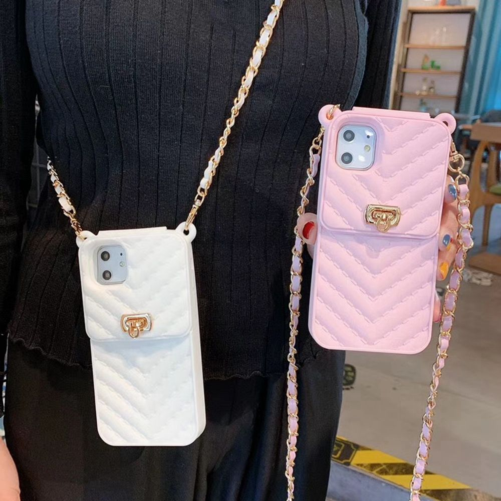 Unique Silicone CaseとCard HolderためiPhone 11Pro Xs Max 7 Plus Fashion Women Phone Cover Pink X 8p 6s XrとChain Girls