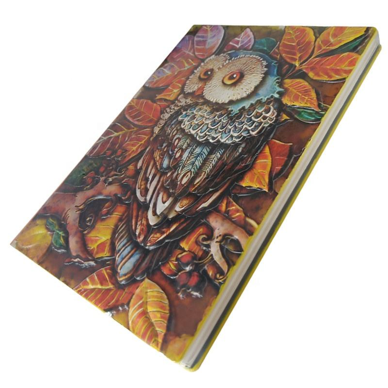 low moq custom notebook Personalized 3d Carved cover pu leather journal