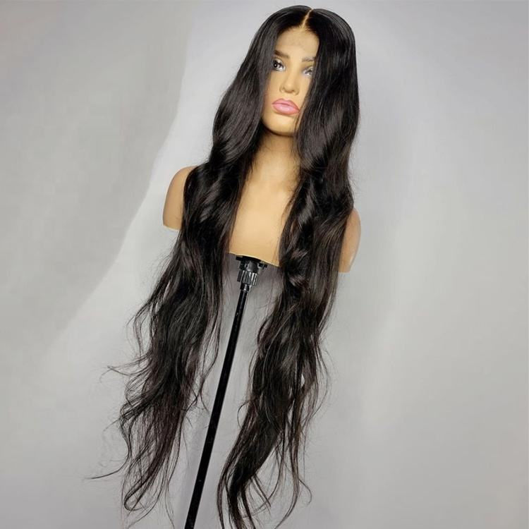 34 Inch Long Hair Body Wave Wig Natural Hair Color Virgin Human hair 13*4 Lace Front Wigs for Black Women
