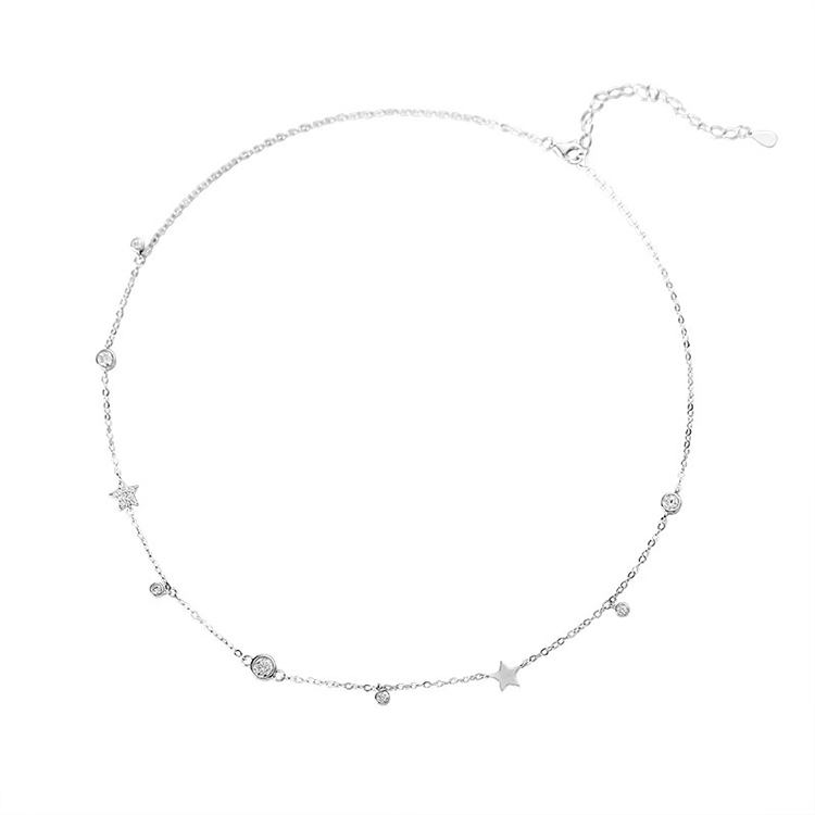925s Silver Jewelry Zircon Stone Design Simple Design Charm Chain Choker Necklace