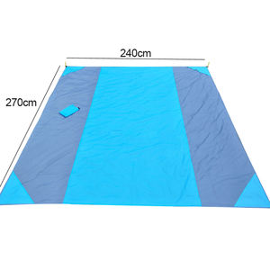 BSCI manufacturer OEM Outdoor Portable Waterproof Ripstop Polyester Fabric Sand Free Large Picnic Beach Blanket with LOGO Print