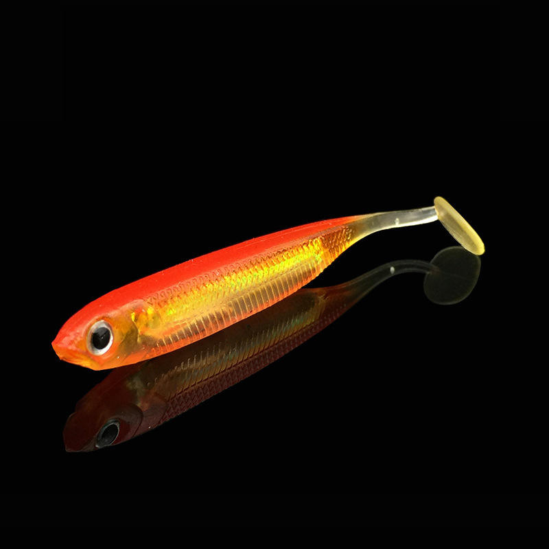 7.5センチメートル2.2グラムSaltwater Shadアルミ箔Rainbow Rubber FishとInner Colorful Reflection Tube Soft Lures