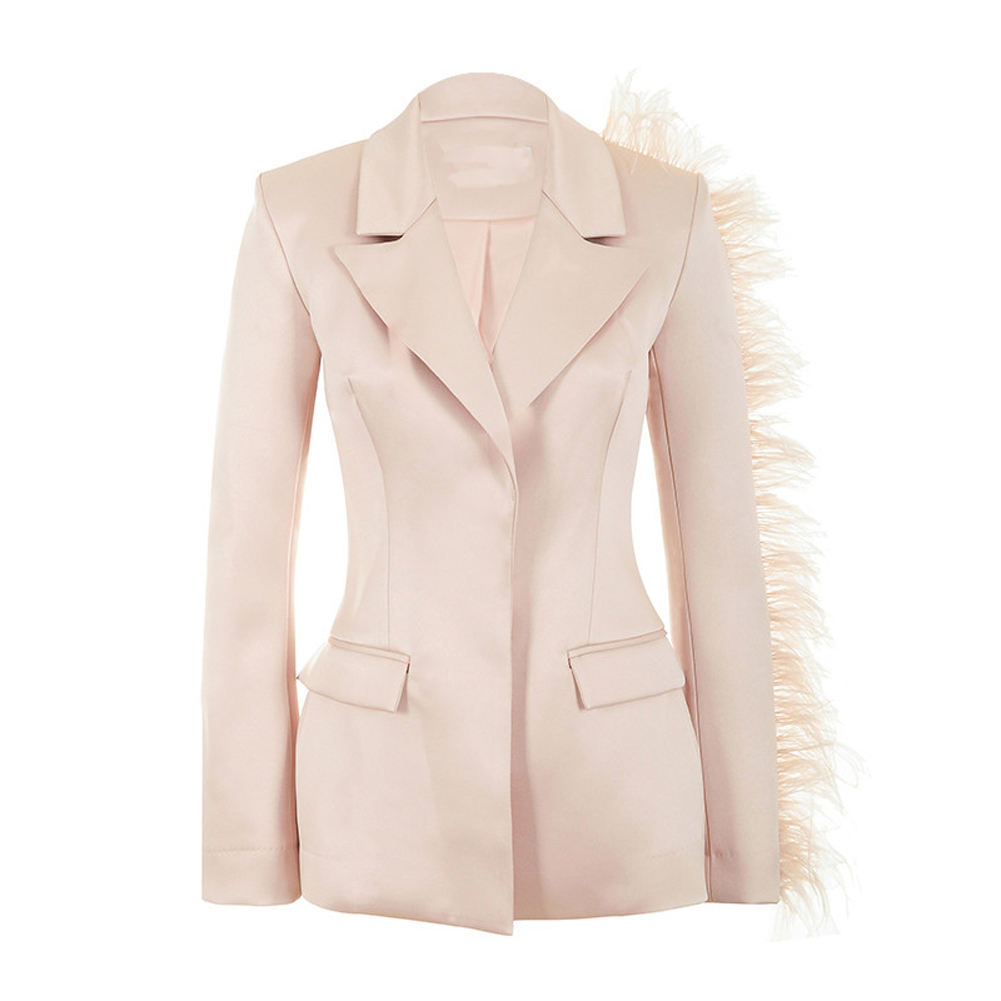 OEM Slim Fit Women Long Sleeve Single Breasted Feather Satin Blazer