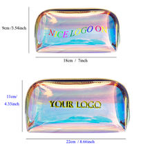 Custom Personalized Waterproof  Cosmetic bag Zipper Pouch Holographic bag TPU Makeup Bag