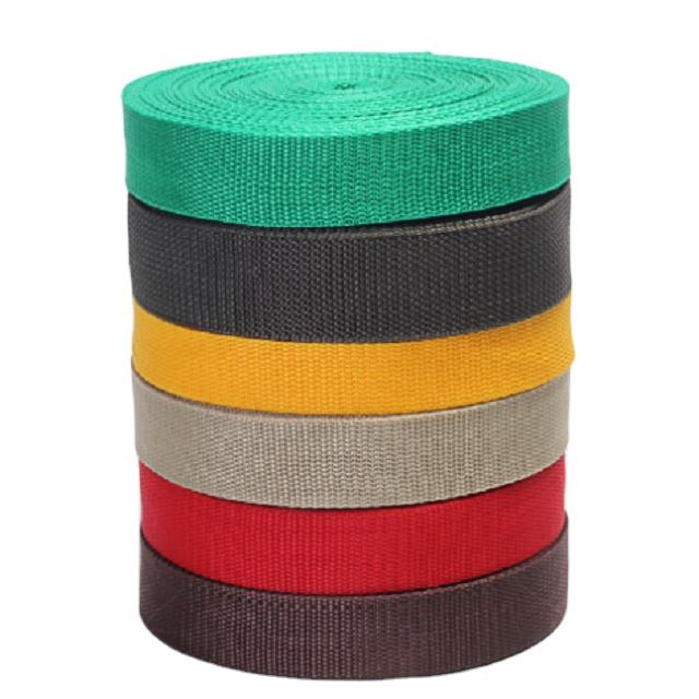 Factory customized high quality polypropylene color plain weave ribbon American pattern polypropylene webbing garment accessorie