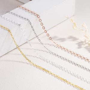 WHOLESALE BULK PRICE 18 inch S925 Sterling Silver cross chain chocker necklace,rose gold,gold DIY Accessories