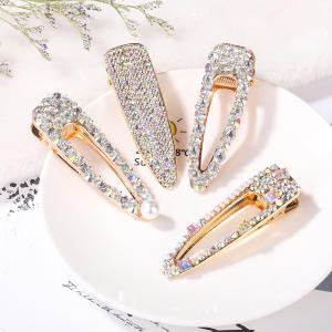 Girl Gold Glitter Design Rhinestone Crystal Geometric Headwear Hair Clip For Women Accessory